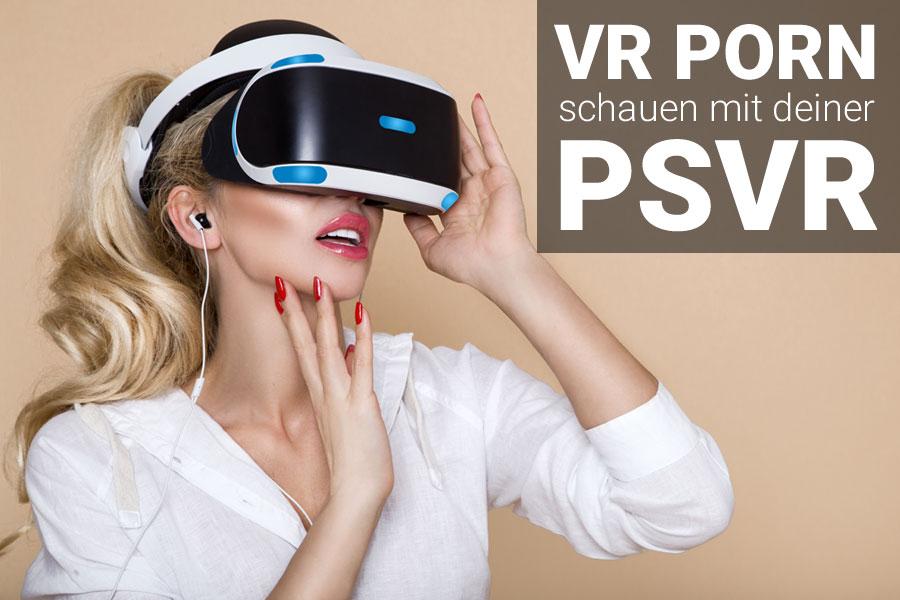 Frau mit Playstation VR schaut porno